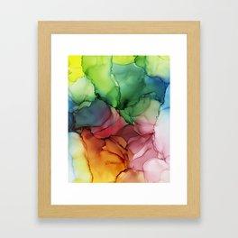 Rainbow Bloom Abstract ink Framed Art Print
