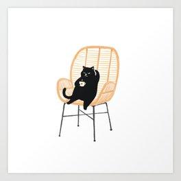 Lazy cat 2 enjoying coffee on rattan chair  Art Print