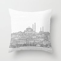 istanbul Throw Pillows featuring İstanbul by Necla Karahalil