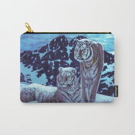Two bengal tigers in a snowed mountain Carry-All Pouch