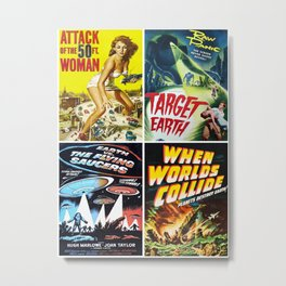 50s Sci-Fi Movie Poster Collage #13 Metal Print