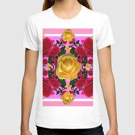 RED-YELLOW ROSES & YELLOW BUTTERFLIES ART T-shirt