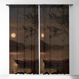Shore of the Lake at Full Moon landscape painting by Magnus Munsterhjelm Blackout Curtain