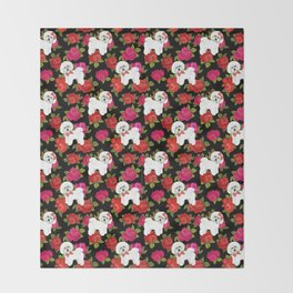 Bichon Frise dogs red rose floral for dog lovers Throw Blanket