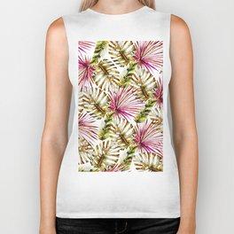Modern tropical hot pink green watercolor palm tree Biker Tank