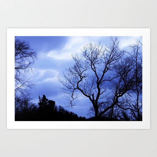 Blue Trees  - JUSTART © Art Print