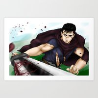 berserk Art Prints featuring Guts - Berserk Fan Art by River Kai