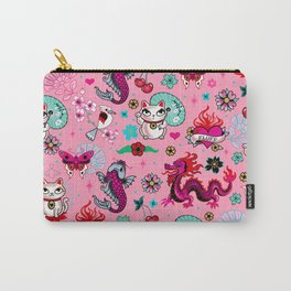 Lucky Cat Maneki Neko , Dragons and Koi fish On Pink Carry-All Pouch