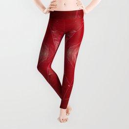 Warm Red Leatherette Leggings