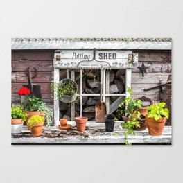 Potting Shed At Work Canvas Print