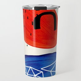 Mid Century Modern abstract Minimalist Fun Colorful Shapes Patterns Orange Blue Bubbles Organic Travel Mug