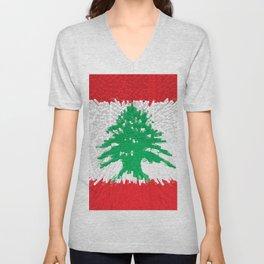 Extruded flag of Lebanon Unisex V-Neck