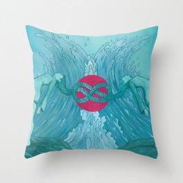 Symmetry in Cyan Throw Pillow