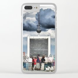 Tourists have a look at Berlin from the Reichstag Clear iPhone Case