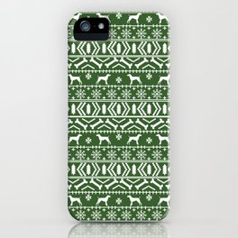 German Shorthair Pointer fair isle christmas holidays dog breed pattern green and white iPhone Case