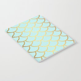 Aqua Teal And Gold Foil MermaidScales - Mermaid Scales Notebook