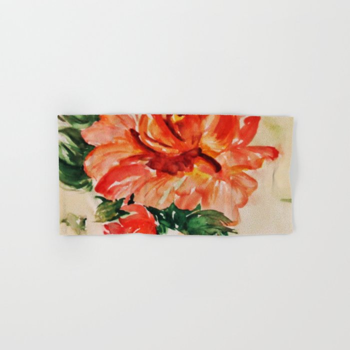 red rose japanese art Hand & Bath Towel
