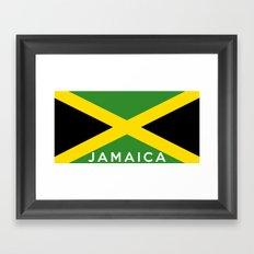 Jamaica country flag name text Framed Art Print