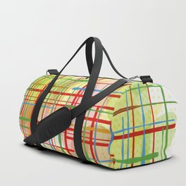 Abstract Lines Shapes Green and Yellow Duffle Bag