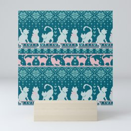 Fair Isle Knitting Cats Love // teal white and pink kitties Mini Art Print