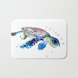 Sea Turtle Illustration Bath Mat