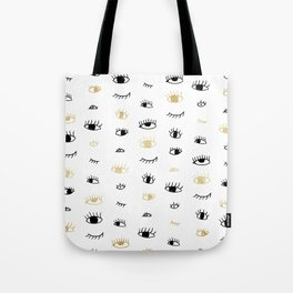 Funny fashion gold and black cute eyes pattern Tote Bag