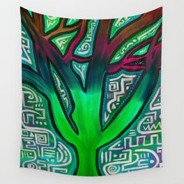 Tree of Life - Neon Green Wall Tapestry