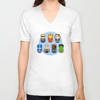 avenger V-neck T-shirts featuring Pixel Art - Avenger parody by Cloudsfactory