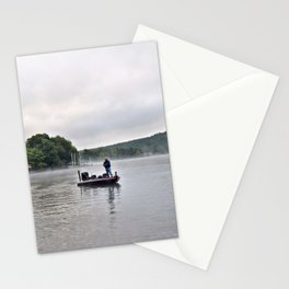 Misty Morning Fishing on the Lake Stationery Cards