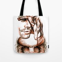 apocalypse now Tote Bags featuring Apocalypse kiss by Salgood Sam