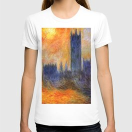 House of Parliament, London, Sun Breaking Through the Fog by Claude Monet T-shirt