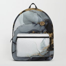 Stormy Black Gold Marble | Abstract Ink Backpack