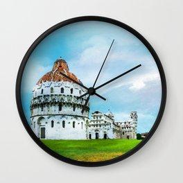 Watercolor painting of Pisa, Italy Wall Clock