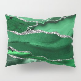 Glamour Emerald Bohemian Watercolor Marble With Silver Glitter Veins Pillow Sham