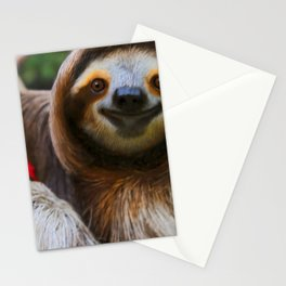 Happy sloth eating hibiscus flowers Stationery Cards