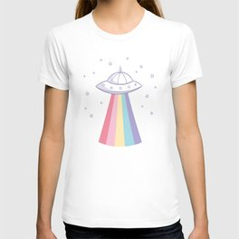 Colorful rainbow space ufo T-shirt