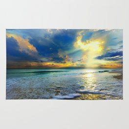 Blue Seascape Art Print Gold Sunrays Sunset Rug
