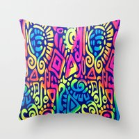 aztec Throw Pillows featuring AZTEC by Acus