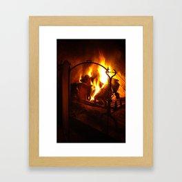 Log Fire Framed Art Print