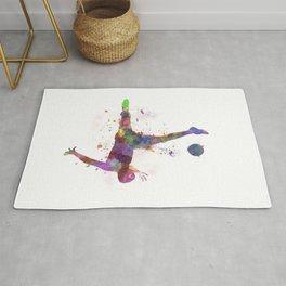 man soccer football player flying kicking silhouette Rug