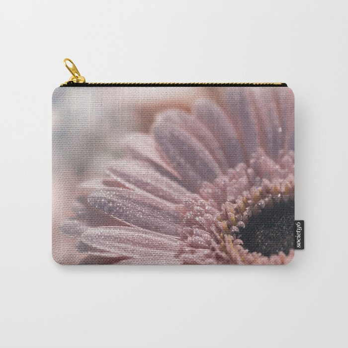 Romantic pink daisy flower with sparkling glitter droplets Carry-All Pouch