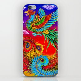 Colorful Fenghuang Chinese Phoenix Rainbow Bird iPhone Skin