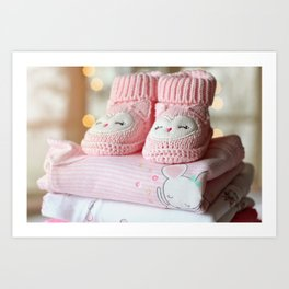 It's a Girl! / Baby Booties & Clothes Art Print