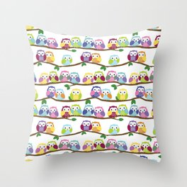 Colorful Owls On Branches Throw Pillow