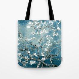 Vincent Van Gogh Almond Blossoms Teal Tote Bag