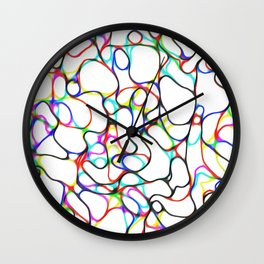 Multiple Colored Curvy Lines Wall Clock