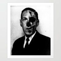 lovecraft Art Prints featuring Zombie Lovecraft by darkscrybe