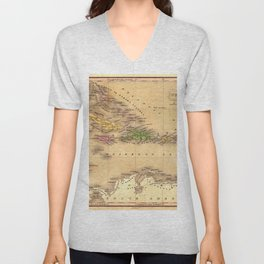Map Of The Caribbean 1828 Unisex V-Neck