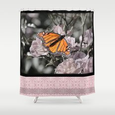 Monarch Butterfly on Pink Flowers and Gothic Tile Shower Curtain