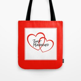 Just Married Red Hearts Tote Bag